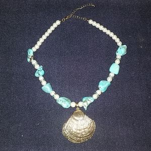 Shell and faux pearl necklace